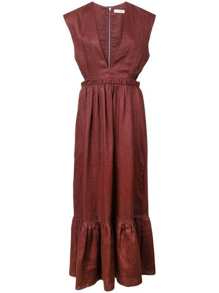TIBI  Linen Canvas V-Neck Cut Out Dress - Burgundy