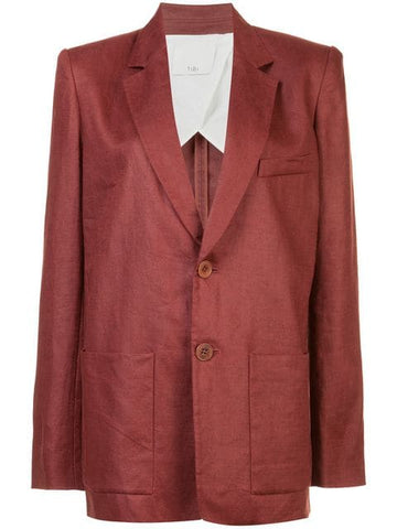 TIBI  Linen Canvas Blazer - Burgundy