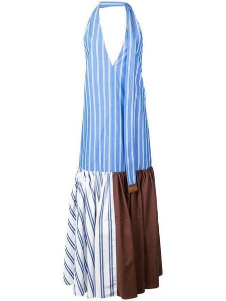 TIBI  Vivian Stripe Deep V-Neck Halter Dress - Blue/ White Stripe Multi
