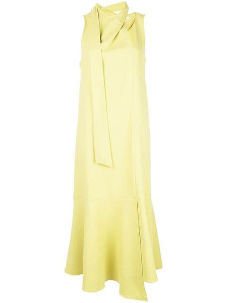 TIBI  Chalky Drape Pleat Neck Trapeze Dress Xanthe Yellow