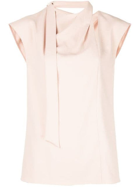 TIBI  Chalky Drape Sleeveless Pleat Tie Top - Blush