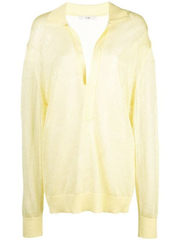TIBI  Crispy Viscose Sweater Polo Collar Mesh Pullover Citron