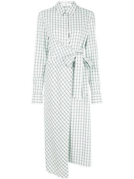 TIBI  Elliot Check Cut Out Wrap Dress - Mint Multi