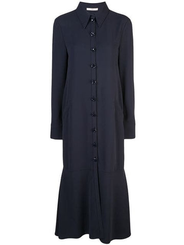 TIBI  Spring Triacetate Maxi Shirtdress - Navy