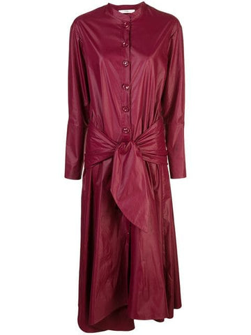 TIBI  Glossy Plainweave Burgundy Shirtdress with Removable Waist Tie