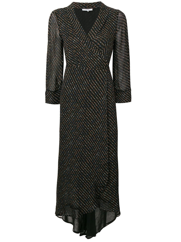 GANNI Mullin Silk Wrap Dress w/ asymmetrical hem