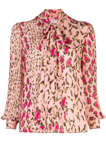 CAROLINA HERRERA Animal Print Long Sleeve Top w/ Neck Tie