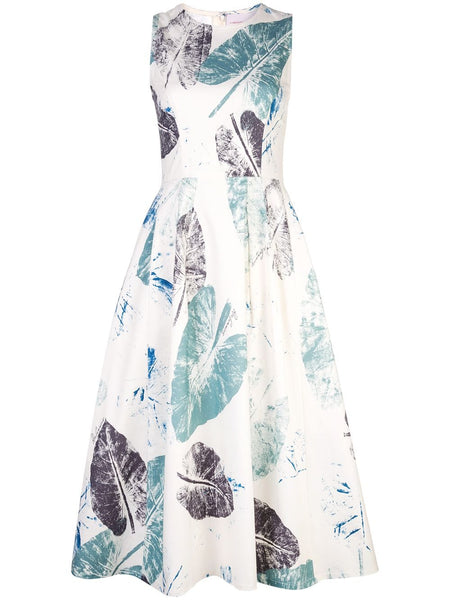 CAROLINA HERRERA Sleeveless Fit and Flare leaf print dress