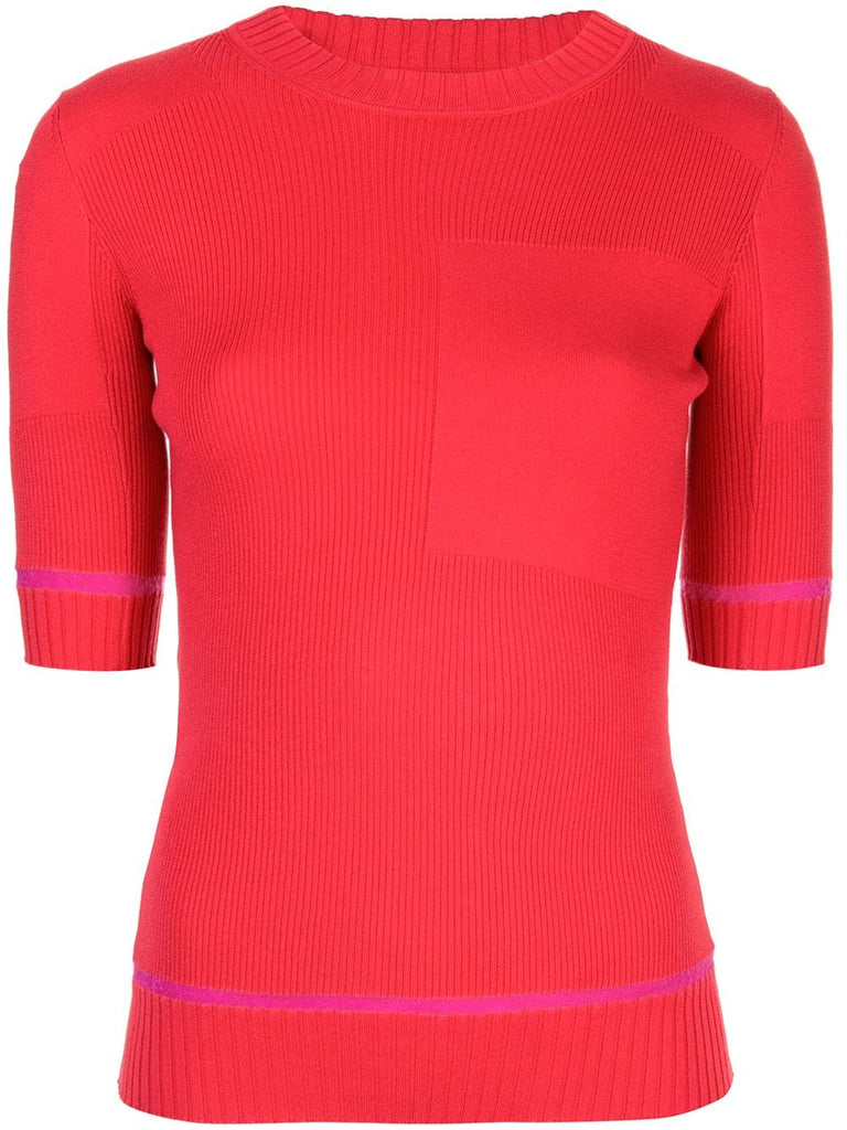 PROENZA SCHOULER S/S Layering Crew-Ribbed Layering Knits - Red