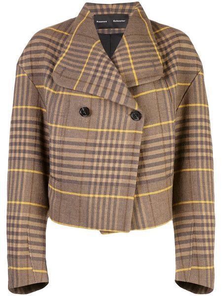 PROENZA SCHOULER Oversized Plaid Jacket-Plaid Double Wool Coating