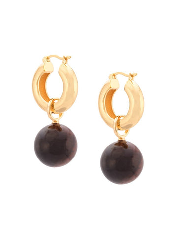 LIZZIE FORTUNATO Tiger Eye Hoops - Gold
