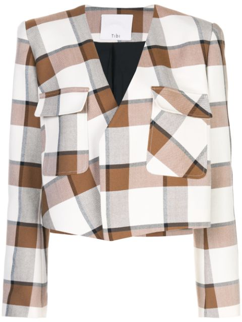 TIBI Dylan Plaid Cropped Jacket