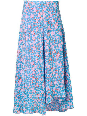 STINE GOYA Marigold 520 Checkered Asymmetrical Hem Midi Skirt