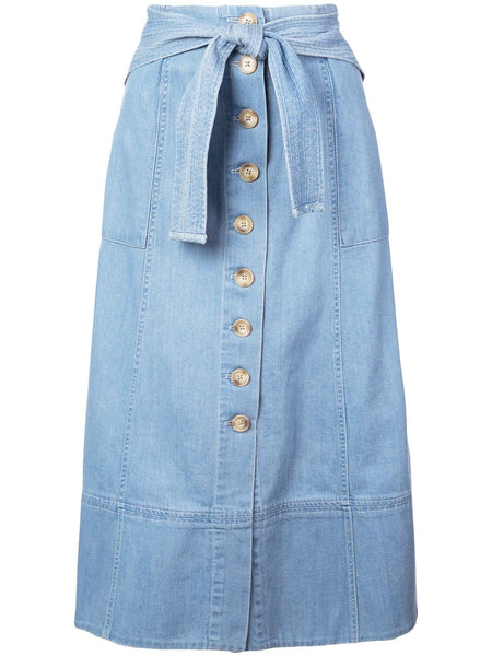 SEA Dakota Belted Midi Skirt Button Down Denim - Blue