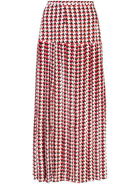 RIXO LONDON Tina Red Mono Houndstooth Skirt