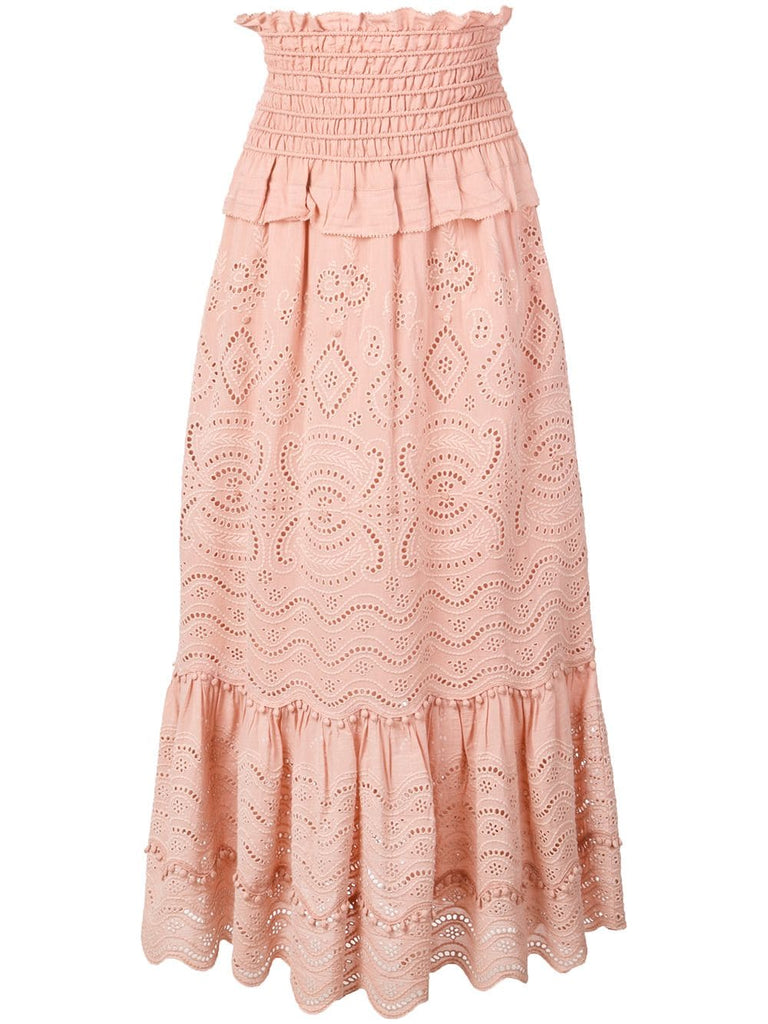SEA Naomie Smocked Midi Skirt - Blush