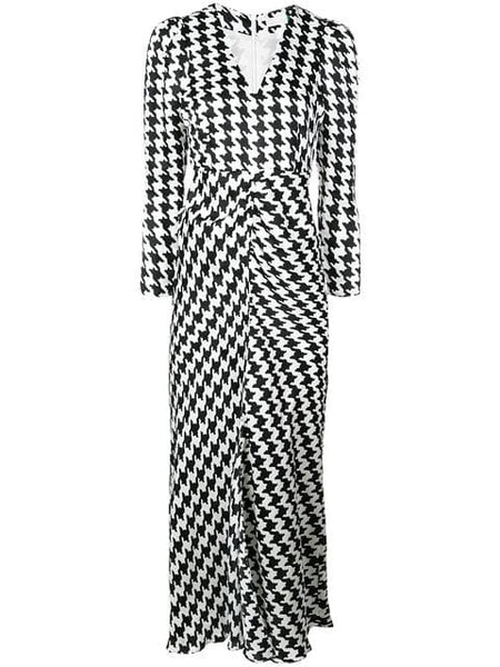 RIXO LONDON Ziggy Vneck 3/4 Sleeve Houndstooth Mono Dress