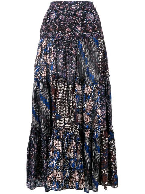 ULLA JOHNSON Asilia Maxi Smocked Waist Skirt-Indigo
