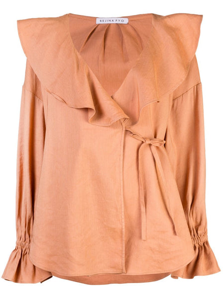 REJINA PYO Riley Ruffle Collar V-Neck Blouse - Viscose Linen Sienna Peach