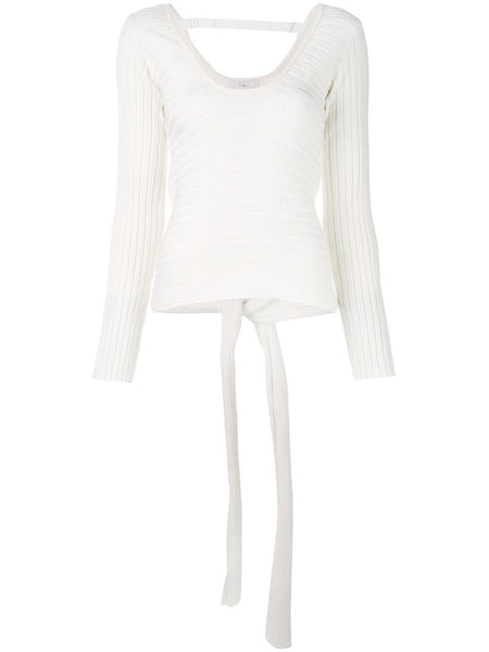 TIBI  Tech Poly Ribbed Decollette Wrap Pullover - Cream Multi