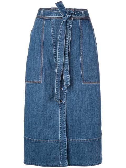 ULLA JOHNSON Tegan Mid Wash Denim Midi Skirt