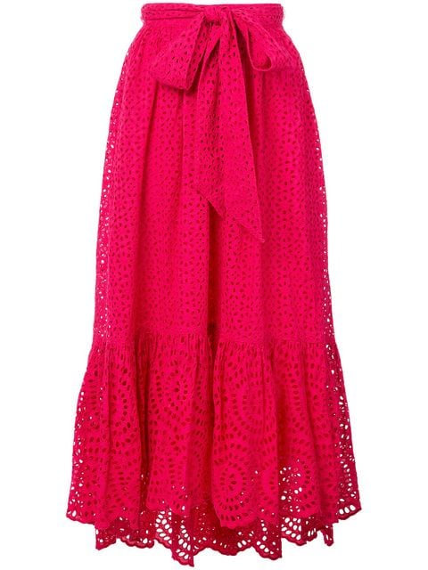 ULLA JOHNSON Lindley Tie Front Maxi Skirt-Fuchsia