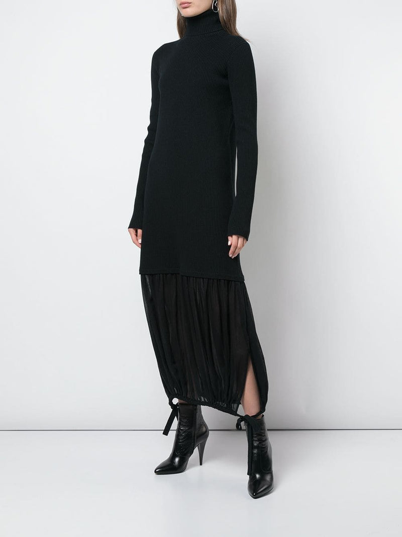 TIBI Sculpted Wool Sweater Wool Gauze Layered Ribbed Dress