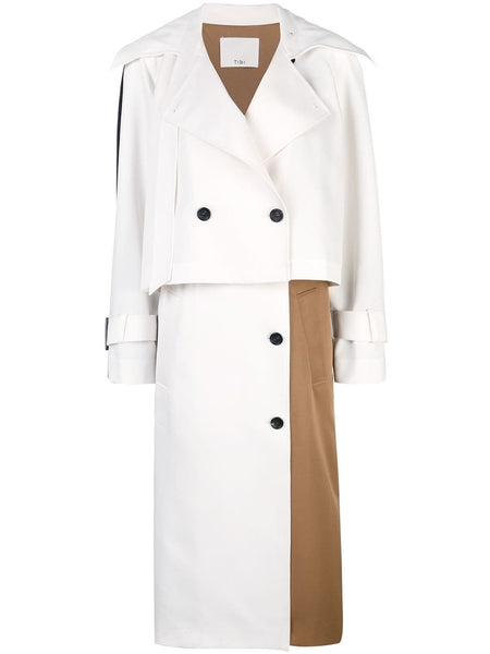TIBI Techy Twill Color Block Detachable Trench