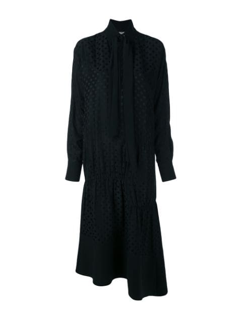 TIBI Dot Jacquard Dolman Tie Neck Panneled Dress