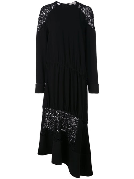 TIBI Guipure Lace Long Sleeve Lace Combo Dress