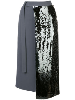 TIBI Triacetate Sequin Paneled Skirt