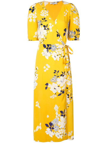 SEA Pia Floral Midi Dress With Tie Belt - Yellow Multi