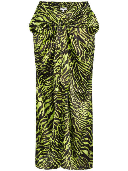 GANNI Silk Stretch Satin Skirt - Lime Tiger