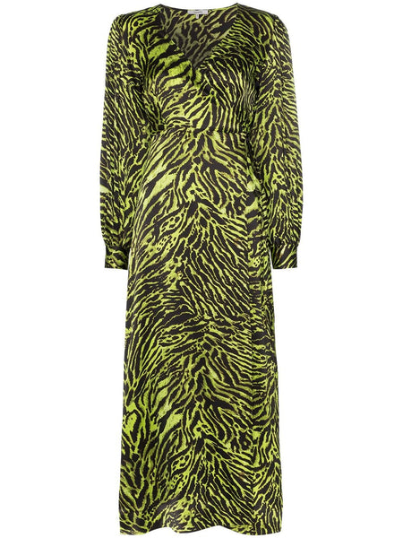 GANNI Silk Stretch Satin Dress - Lime Tiger