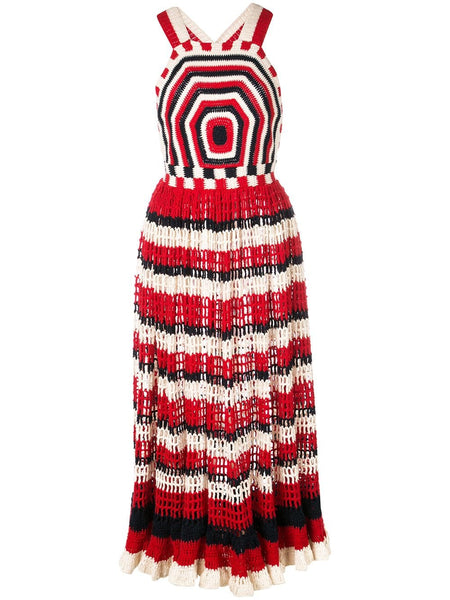 ULLA JOHNSON Paz Sleeveless Knit Dress w/ Geo Pattern-Marine