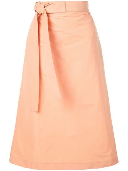 ROCHAS Ophrys Woven A-Line Midi Skirt w/ side tie - Light/Pastel Orange