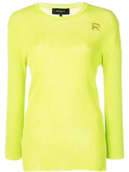 ROCHAS Round Neck Sweater w/ Small R - Light/Pastel Green