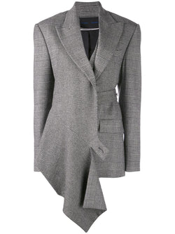 PROENZA SCHOULER Draped Blazer-Plaid Flannel Suiting