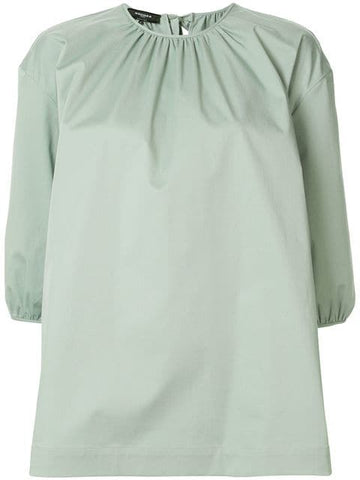ROCHAS Elbow Sleeve Woven Top w/ rouched neck and tie - Light/Pastel Green