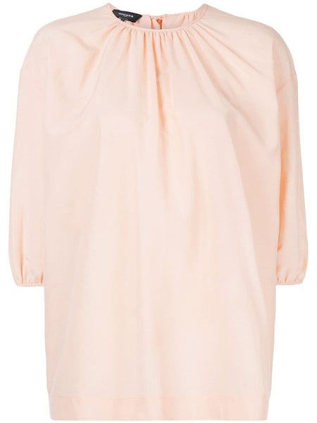 ROCHAS Elbow Sleeve Woven Top w/ Tie neck - Light/Pastel Orange