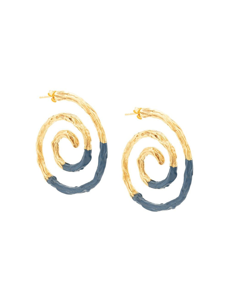 Lizzie Fortunato spiral earrings - navy