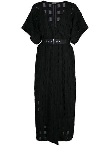 RACHEL COMEY Revamp V-Neck Midi Dress w/ Belted Waist