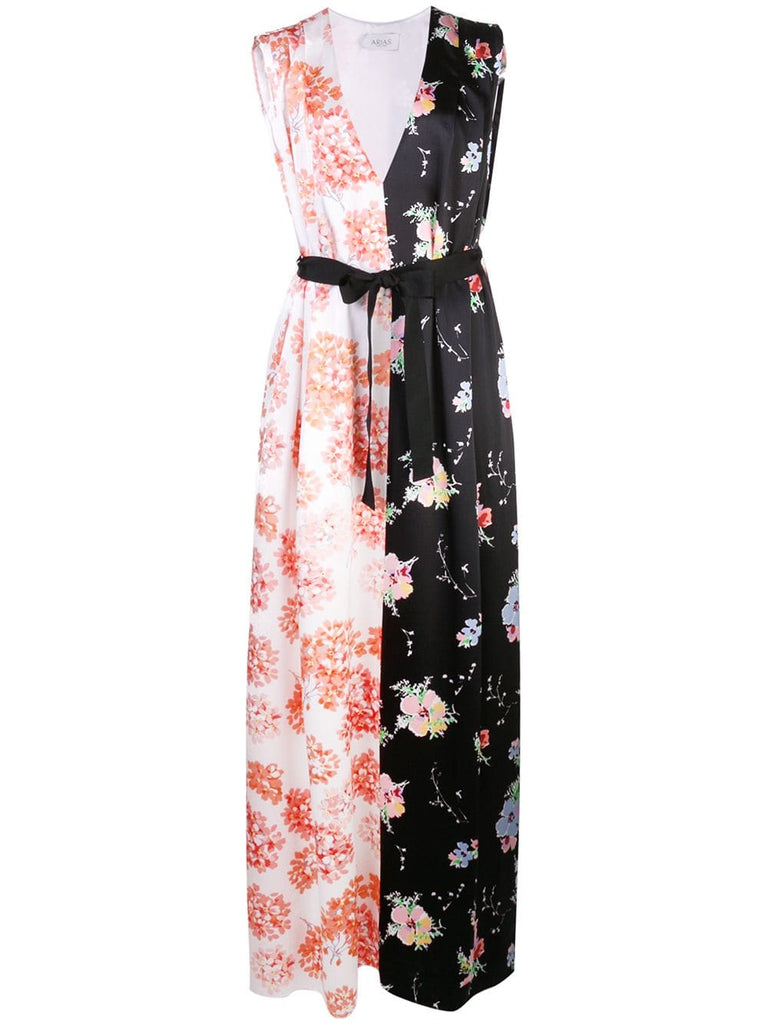 ARIAS Mixed Print V-Neck Gown W/ Belt