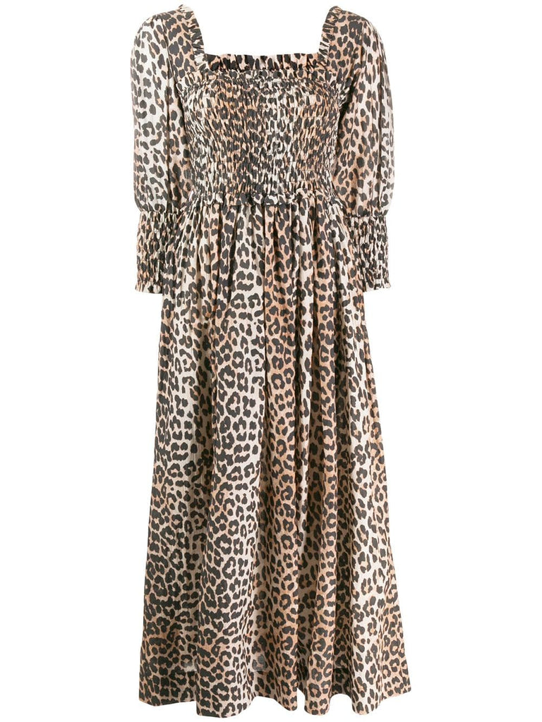 GANNI Cotton	Silk Leopard Dress