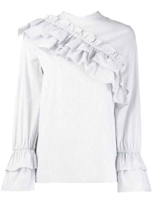 BAUM UND PFERDGARTEN Moya Cotton Long Sleeve Top with Ruffle Detail