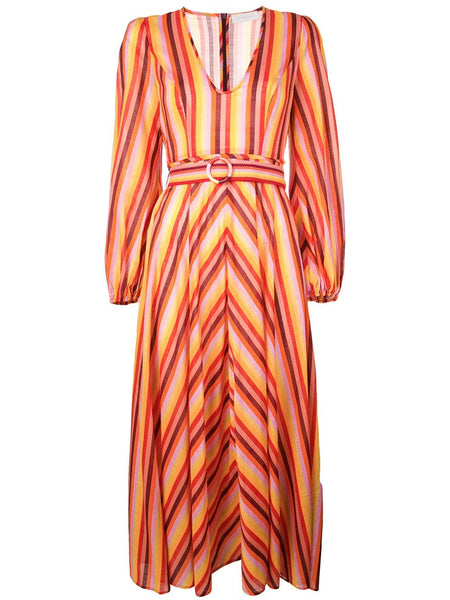 ZIMMERMAN Goldie Rainbow Plunge Dress
