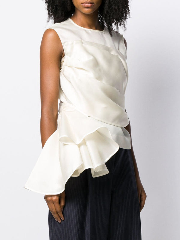 NINA RICCI Silk Satin Organza Top