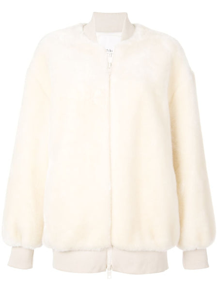 TIBI Luxe Faux Fur Zip Up Track Jacket