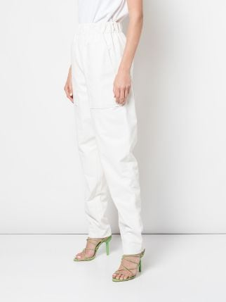 TIBI Faux Leather Pull-On Pant - White