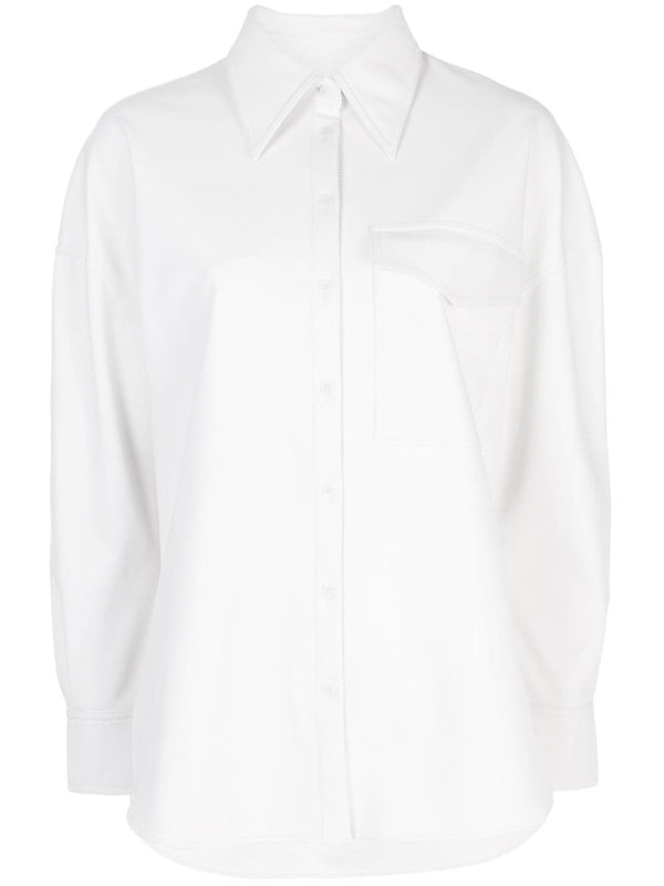 TIBI Faux Leather Relaxed Utility Blouse - White